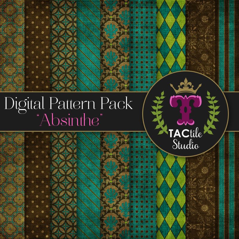 Absinthe Digital Paper Pack