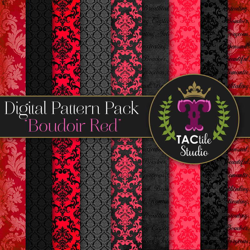 Boudoir Red Digital Paper Pack