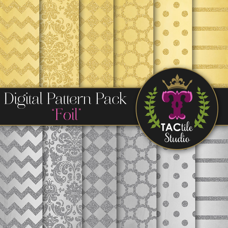 Foil Digital Paper Pack