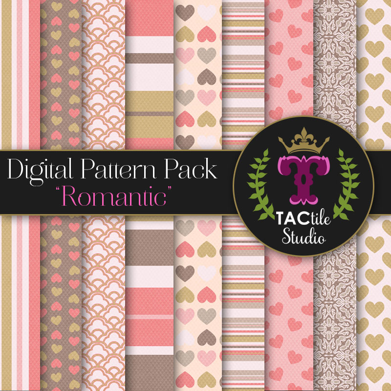 Romantic DIgital Paper Pack