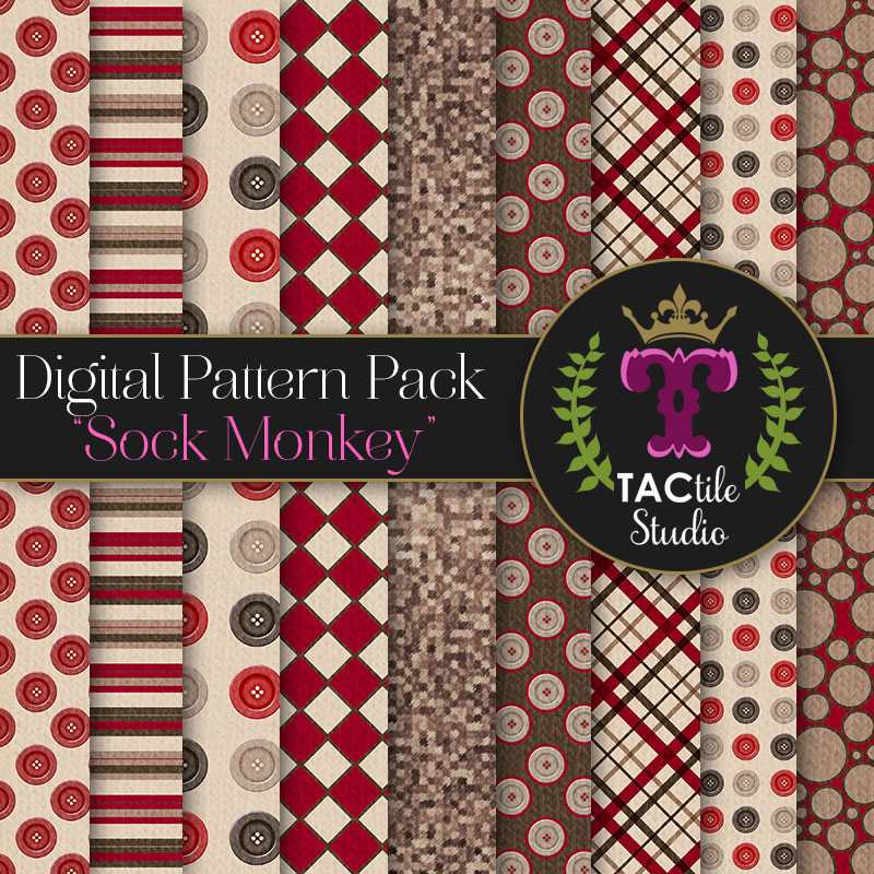 Sock Monkey Digital Paper Pack