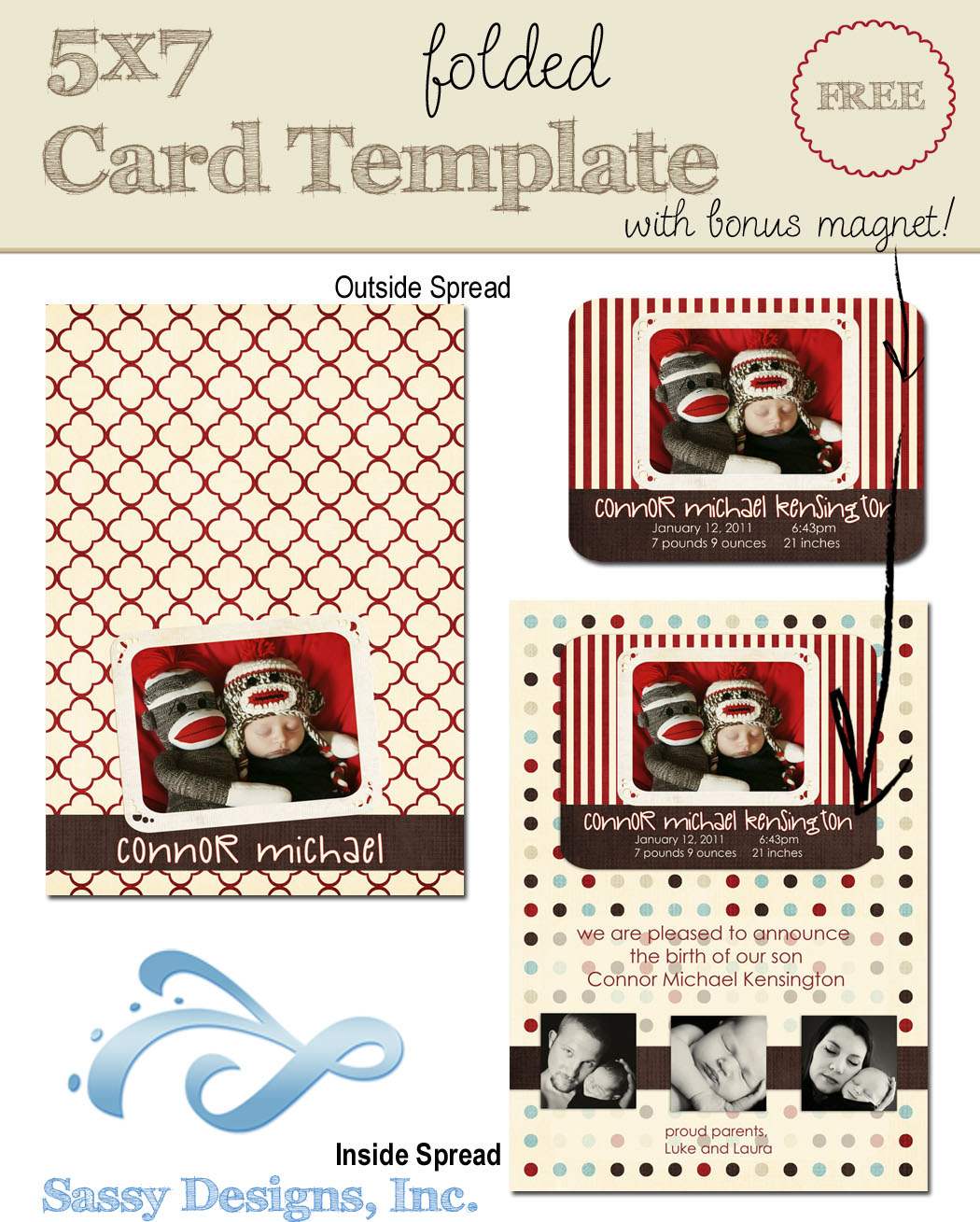 Announcement 5x7 Folded Card w/Magnet