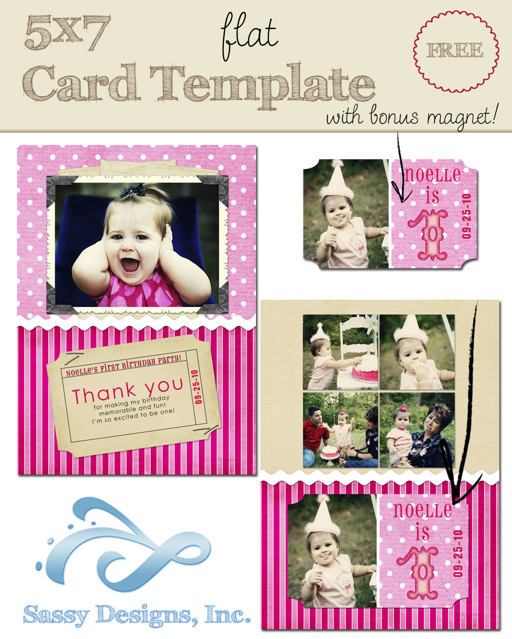 Birthday 5x7 Flat Card Template w/Magnet
