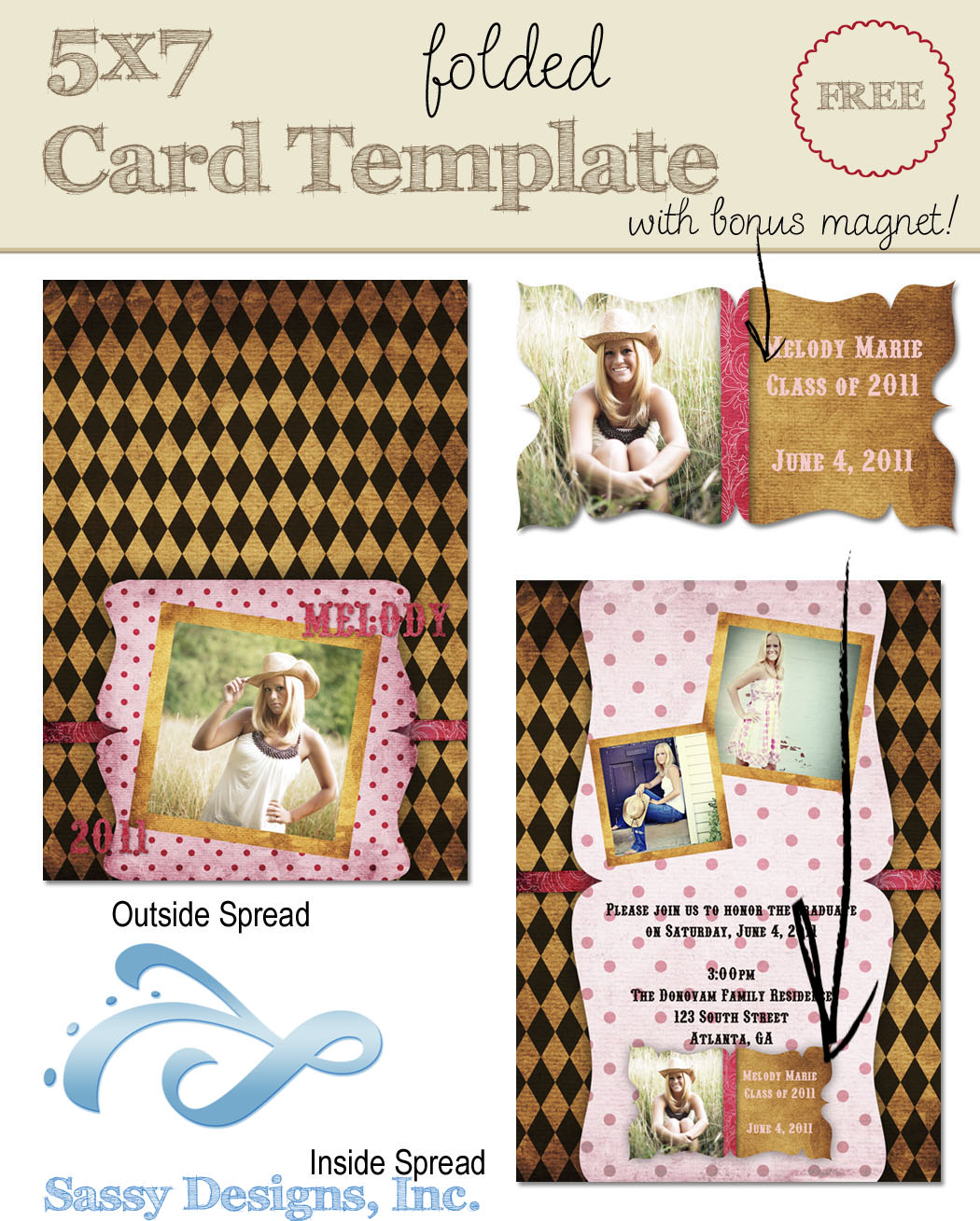 Country 5x7 Folded Card Template w/Magnet