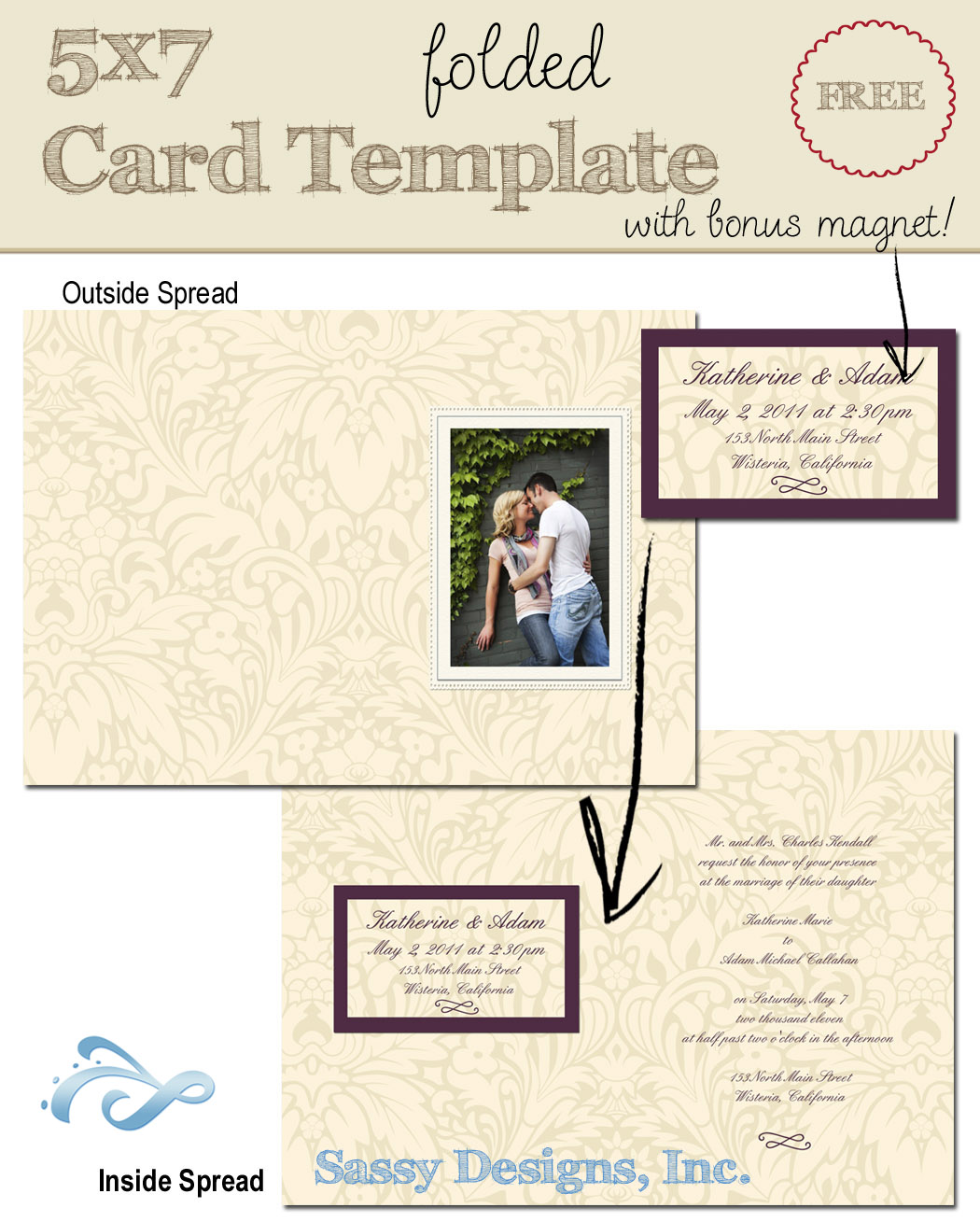 Invite 5x7 Folded Card Template w/Magnet
