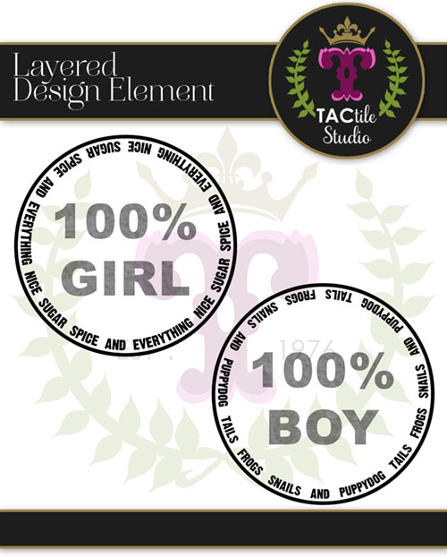 Boy/Girl Circle Stamp Embellishments