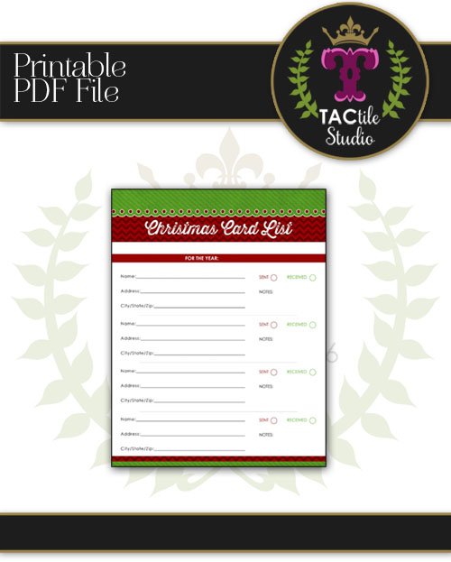 Christmas Card List Printable