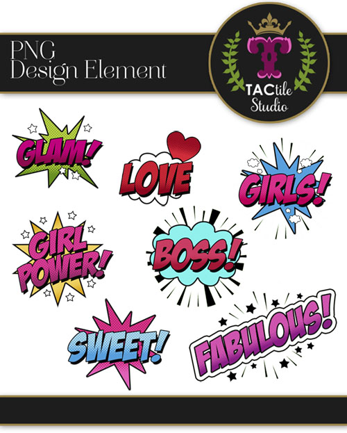 Girl Power Design Elements