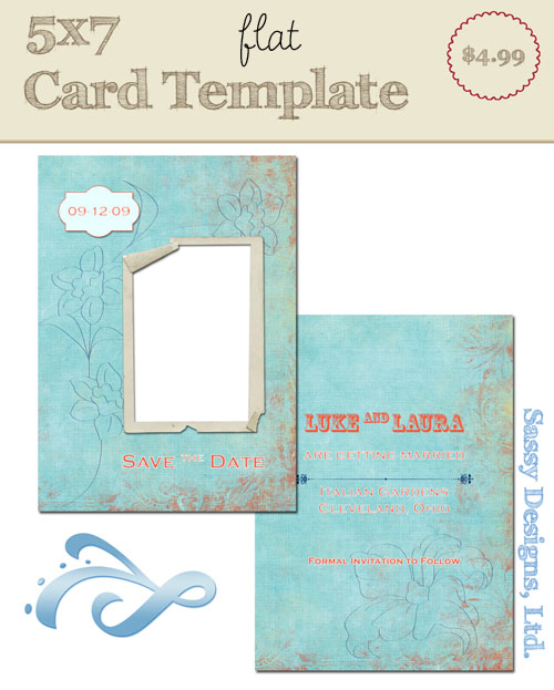 Grungy Floral Card Template