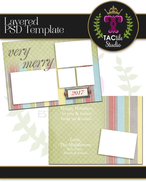 Holiday Stripes Card Template
