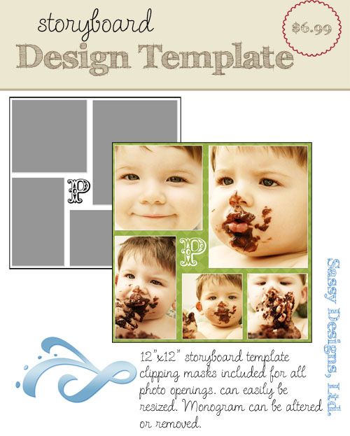 Monogrammed 12x12 Storyboard Template
