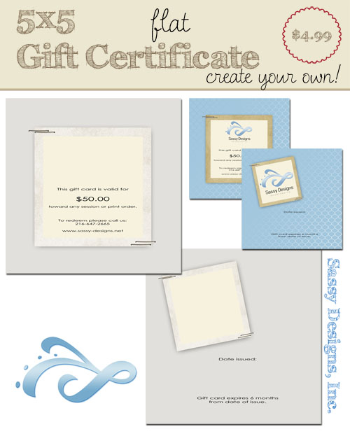 "Gift Certificate Template - ""Stapled"" 5x5 Flat"