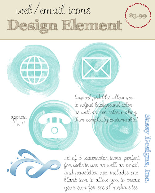 Watercolor Web Icon Set