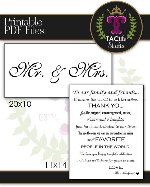 Wedding Sign Printables